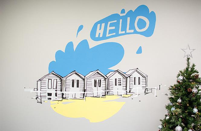 Bude beach huts - wall art by Samuel Bassett