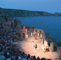 Evening performance at the Minack Theatre, Porthcurno