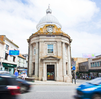View of the clock in Penzance Town