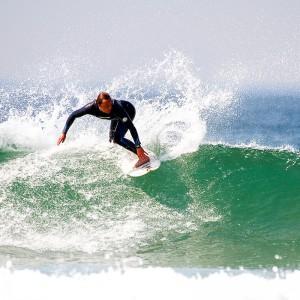 Surfing in Porthleven