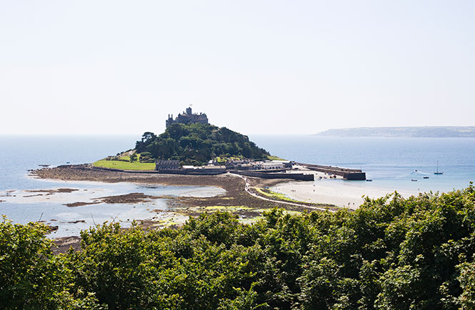 View of St Michael's Mount in Marazion at High tide