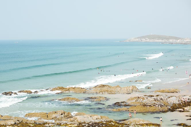 surfing at Fistral beach, Newquay, Cornwall