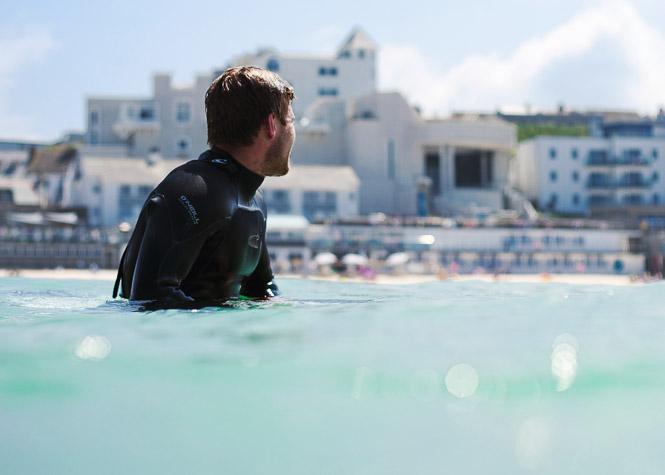 Surfing at Porthmeor, St Ives