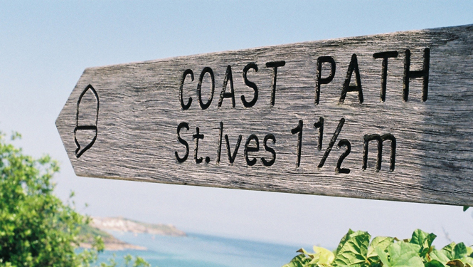 Carbis Bay Coastal Path signpost